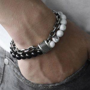 bracelet homme tendance en jaspe blanche
