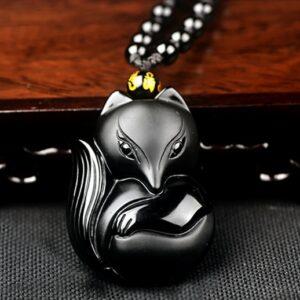 Collier obsidienne œil céleste