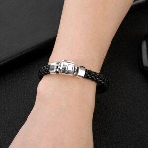 Bracelet homme cuir argent