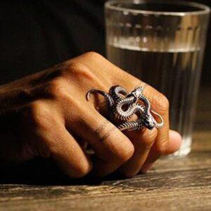 bague serpent argent