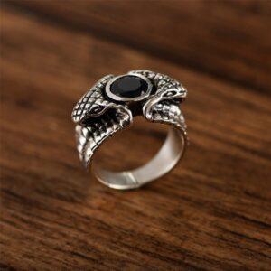 Bague serpent diamant noir