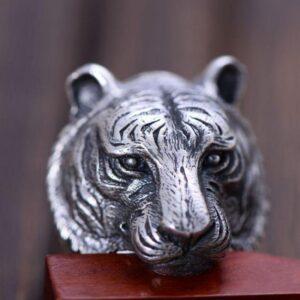 Bague tete de tigre argent