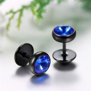 Boucle d'oreille homme bleu