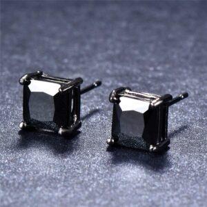 Boucle d'oreille homme diamant carré