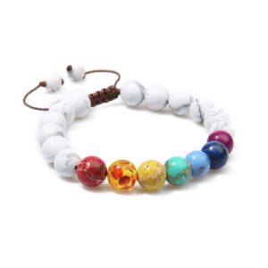bracelet 7 chakras blanc