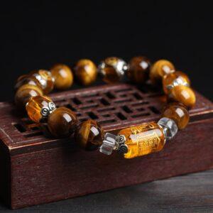 Bracelet chinois porte bonheur oeil de tigre