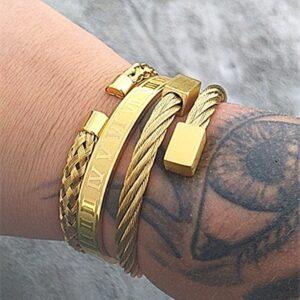 bracelet homme acier or