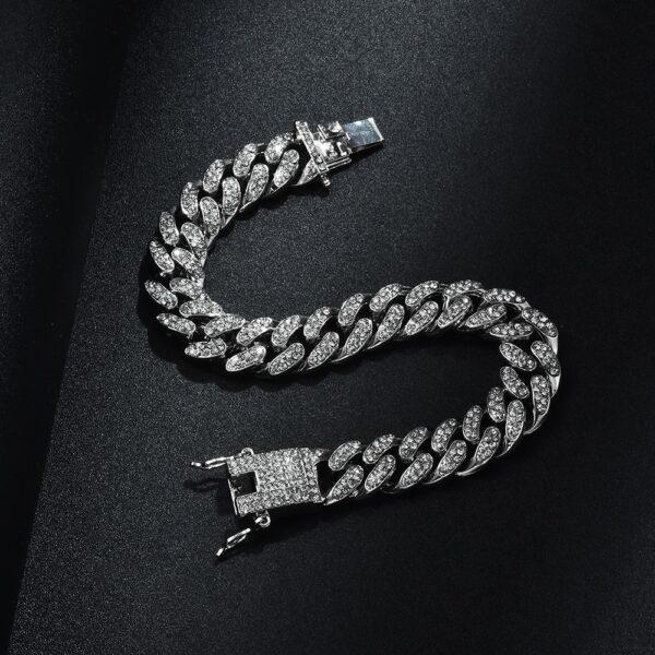 Bracelet homme diamant couleur argent