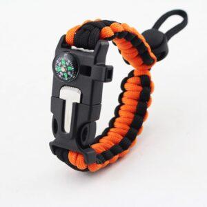 Bracelet tactique orange et noir
