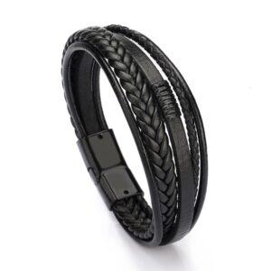 Bracelet wrap homme noir