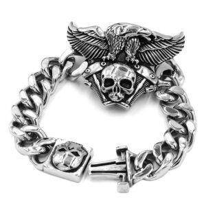 Bracelet en acier tete de mort