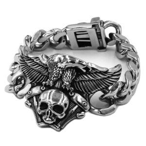 Bracelet acier tete de mort et aigle