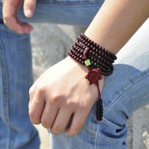 Meditation bracelet yoga rouge