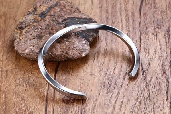 Bracelet jonc acier inoxydable couleur argent