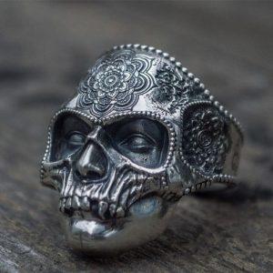 Bague tête de mort style mexicaine