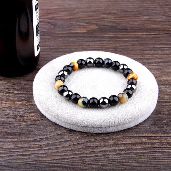 Bracelet homme pierre de protection obsidienne hématite oeil de tigre