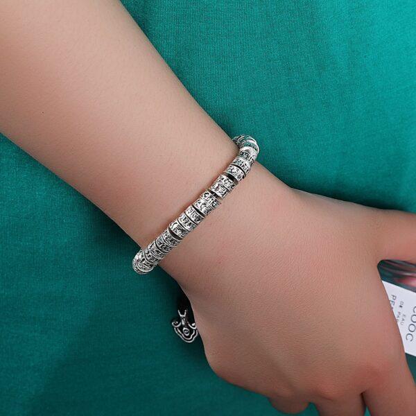 Bracelet mantra argent om mani padme hum