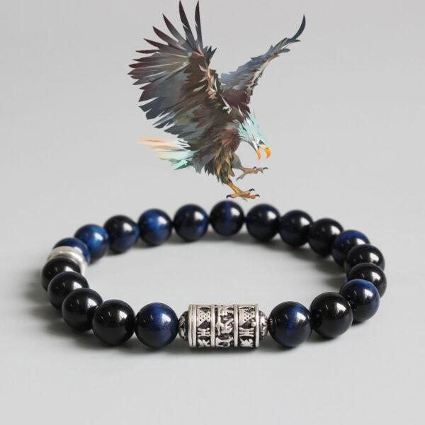 Bracelet perle tibetain bleu oeil de faucon