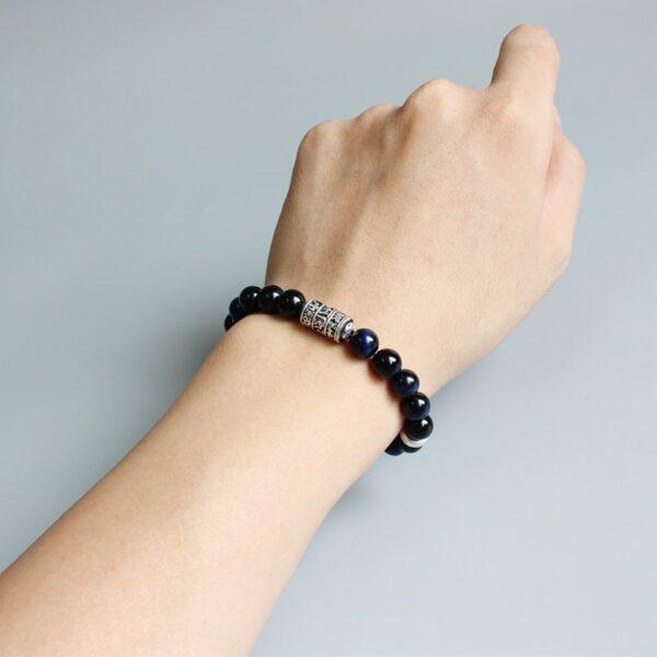 Bracelet perle tibetain oeil de faucon