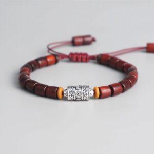 Bracelet tibétain bois rouge