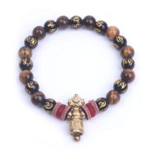 Bracelet tibétain bouddhiste mantra de compassion cloche