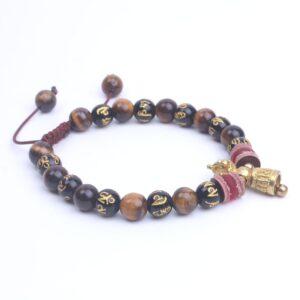 Bracelet tibétain bouddhiste mantra oeil de tigre