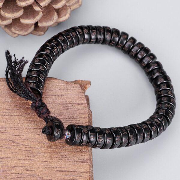 Veritable bracelet tibetain noir et violet