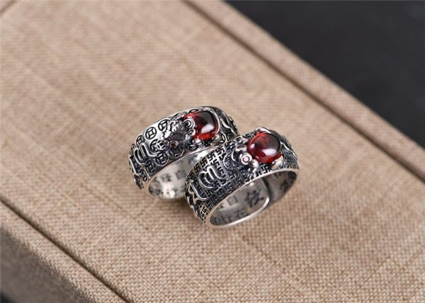 Bague argent style tibetaine