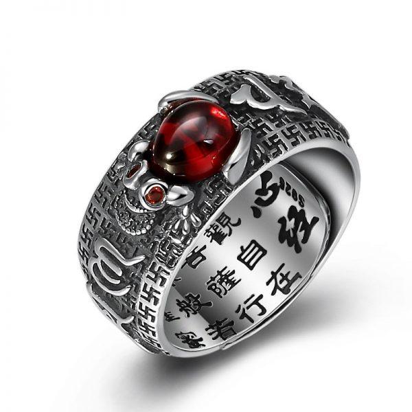 Bague argent tibetaine Jin Chan