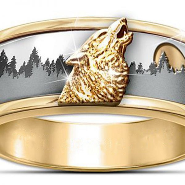 Bague loup qui hurle or