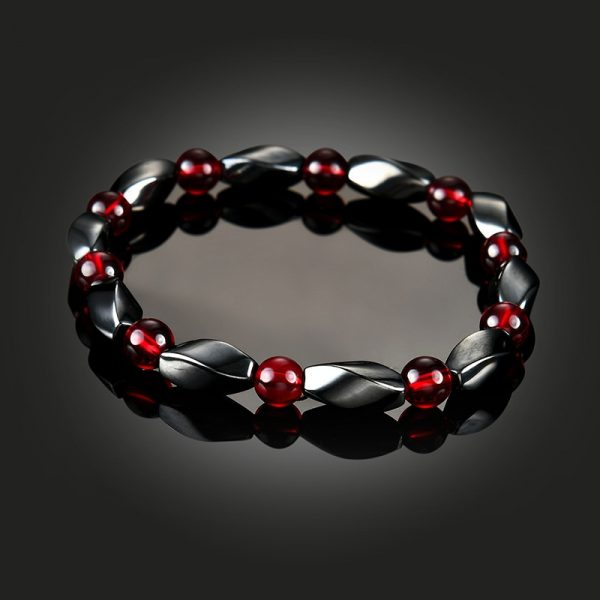 Bracelet agate rouge et hématite