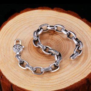 Bracelet avec fleur de lotus argent