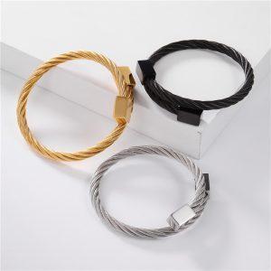 Bracelet cable acier inox homme
