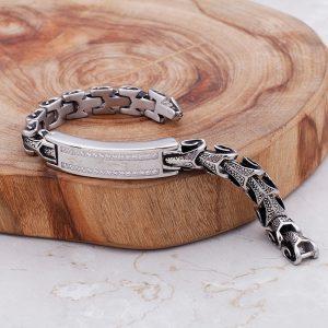 Bracelet chaine serpent argent antique
