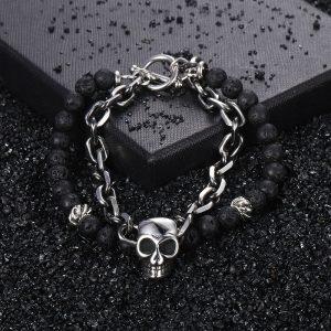 Bracelet homme avec pierre de lave tete de mort