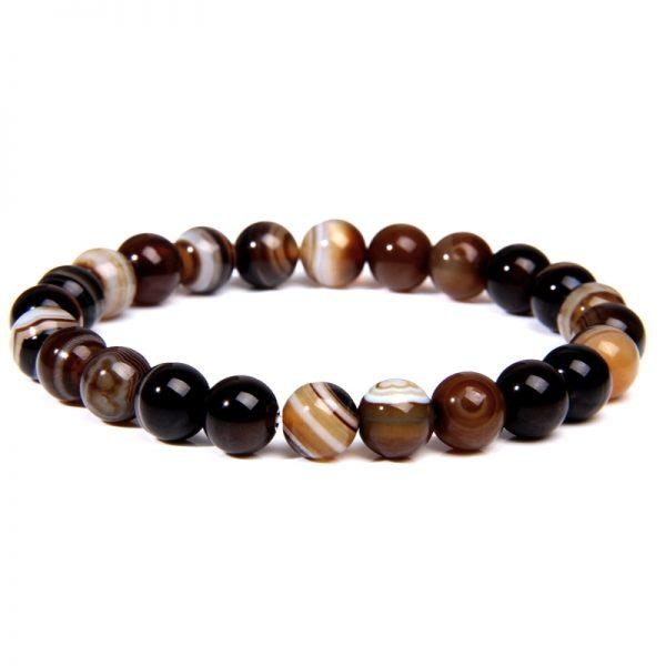 Bracelet homme pierre agate marron