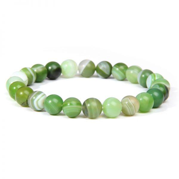Bracelet homme pierre agate verte