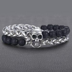 Bracelet homme pierre de lave et tete de mort