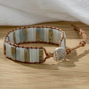 Bracelet indien pierre couleur clair