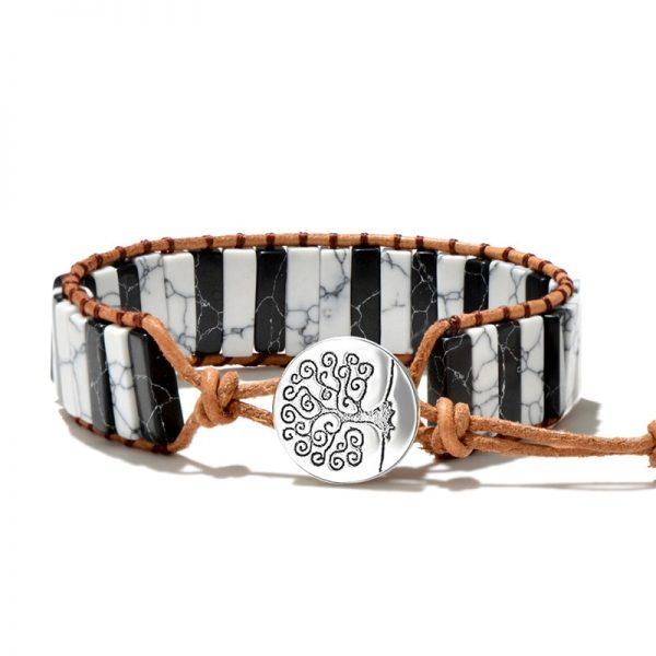 Bracelet indien pierre noir et blanc