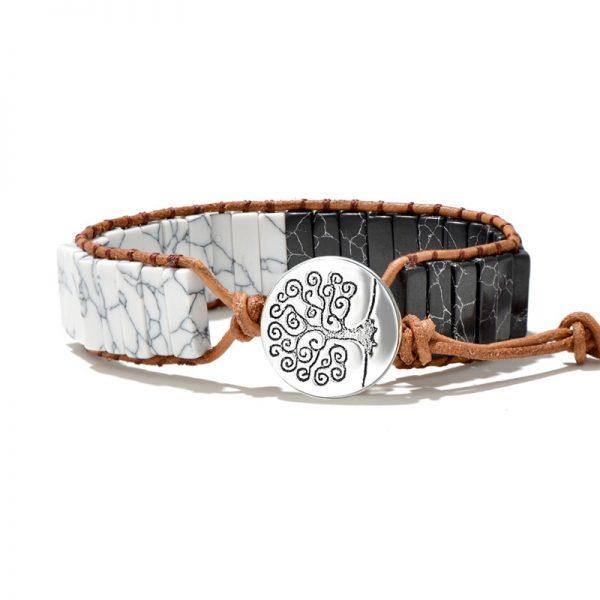 Bracelet indien pierre noir et blanc yin yang