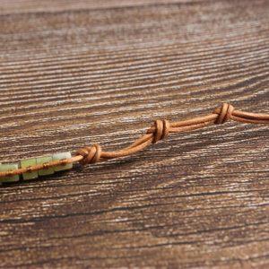 Bracelet jade et cuir
