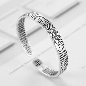 Bracelet lotus pour homme argent