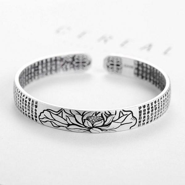 Bracelet lotus pour homme en argent