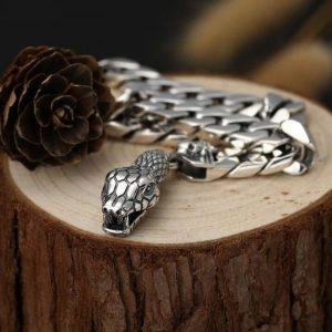 Bracelet maille serpent homme