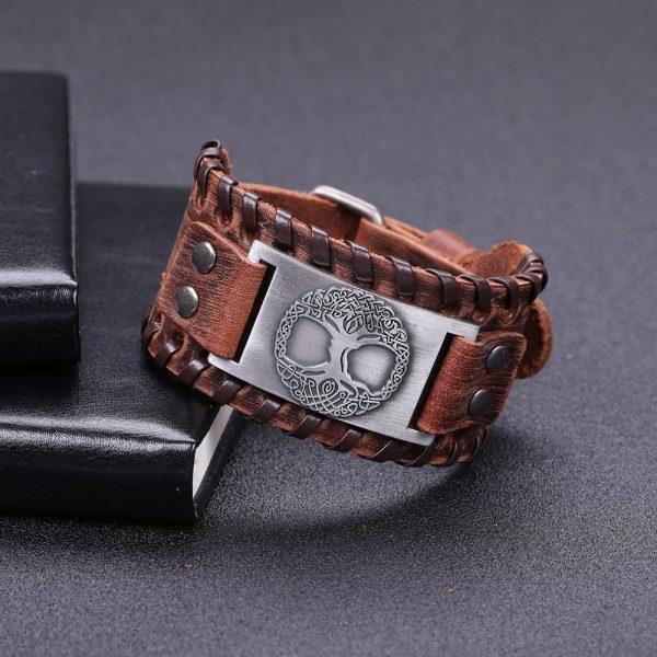 Bracelet manchette cuir homme argent
