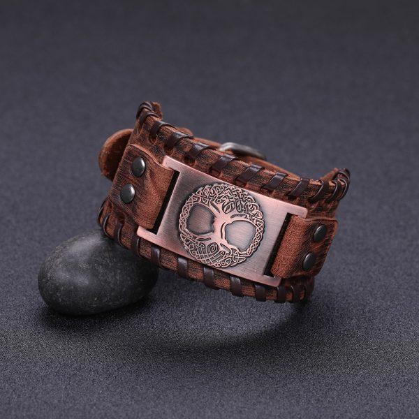 Bracelet manchette cuir homme marron