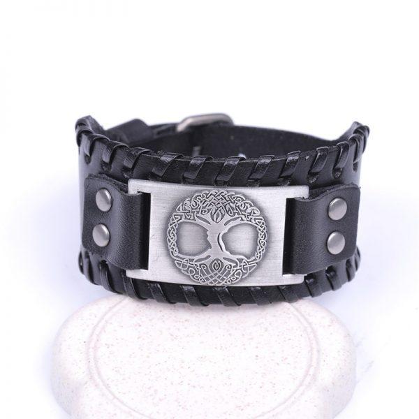 Bracelet manchette cuir homme noir