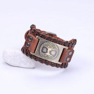 Bracelet manchette cuir pour homme marron