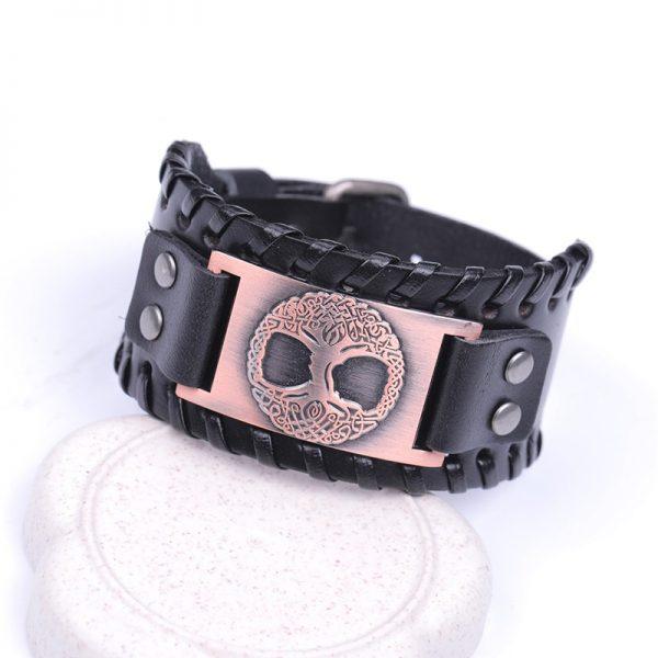 Bracelet manchette cuir pour homme noir
